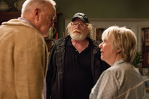 Hold The Sunset. Image shows from L to R: Phil (John Cleese), Bob (James Cosmo), Edith (Alison Steadman). Copyright: BBC.