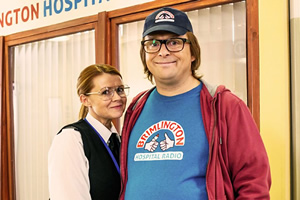 Hospital People. Image shows from L to R: Hilary (Sian Gibson), Ivan Brackenbury (Tom Binns). Copyright: Roughcut Television.