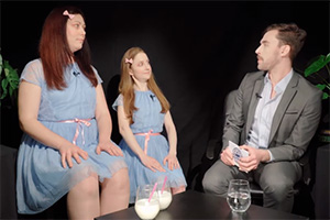 How To Date A Magical Creature. Image shows from L to R: Creepy Twin (Lucy Trodd), Creepy Twin (Susan Harrison), Toby Vanilla (Alex Holland).