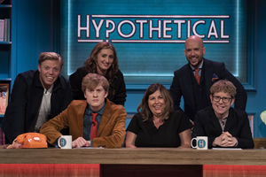 Hypothetical. Image shows from L to R: Rob Beckett, James Acaster, Jessica Knappett, Liza Tarbuck, Tom Allen, Josh Widdicombe. Copyright: Hat Trick Productions.