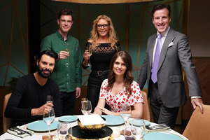 I'll Get This. Image shows from L to R: Rylan Clark-Neal, Ed Gamble, Carol Vorderman, Ellie Taylor, Anton Du Beke. Copyright: 12 Yard Productions.