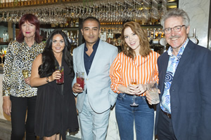 I'll Get This. Image shows from L to R: Janet Street-Porter, Scarlett Moffatt, Adil Ray, Angela Scanlon, Griff Rhys Jones. Copyright: 12 Yard Productions.
