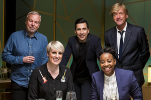 I'll Get This. Image shows from L to R: Steve Pemberton, Steph McGovern, Russell Kane, Ashley Charles, Richard Madeley. Copyright: 12 Yard Productions.