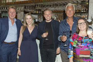 I'll Get This. Image shows from L to R: Martin Kemp, Joanna Scanlan, Victoria Coren Mitchell, Rob Beckett, Harry Redknapp. Copyright: 12 Yard Productions.