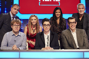 Insert Name Here. Image shows from L to R: Jack Dee, Josh Widdicombe, Suzannah Lipscomb, Sue Perkins, Liz Bonnin, Richard Osman, Martin Kemp.