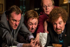 Inside No. 9. Image shows from L to R: Craig (Philip Glenister), Archie (Reece Shearsmith), Kevin (Jason Watkins), Malcolm (Steve Pemberton). Copyright: BBC.