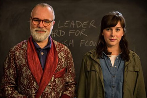 Inside No. 9. Image shows from L to R: Professor Squires (Steve Pemberton), Nina (Alexandra Roach). Copyright: BBC.