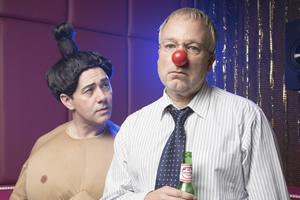 Inside No. 9. Image shows from L to R: Greg (Reece Shearsmith), Roger (Steve Pemberton). Copyright: BBC.