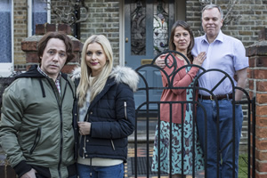 Inside No. 9. Image shows from L to R: Max (Reece Shearsmith), Hannah (Miranda Hennessy), Harriet (Nicola Walker), Adrian (Steve Pemberton). Copyright: BBC.