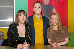 Joe Lycett's Got Your Back. Image shows from L to R: Jess Phillips, Joe Lycett, Lucy Beaumont.