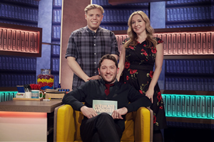 Jon Richardson: Ultimate Worrier. Image shows from L to R: Rob Beckett, Jon Richardson, Victoria Coren Mitchell. Copyright: Talkback.