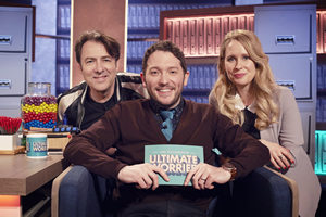 Jon Richardson: Ultimate Worrier. Image shows from L to R: Jonathan Ross, Jon Richardson, Lucy Beaumont. Copyright: Talkback.