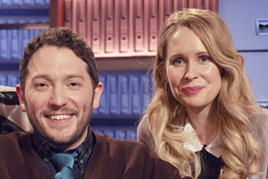Jon Richardson: Ultimate Worrier. Image shows from L to R: Jon Richardson, Lucy Beaumont. Copyright: Talkback.