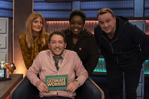 Jon Richardson: Ultimate Worrier. Image shows from L to R: Morgana Robinson, Jon Richardson, Lolly Adefope, Matt Forde. Copyright: Talkback.