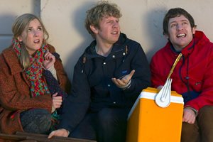 Josh. Image shows from L to R: Kate (Beattie Edmondson), Josh (Josh Widdicombe), Owen (Elis James). Copyright: BBC.