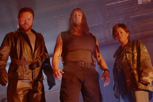The Keith & Paddy Picture Show. Image shows from L to R: Terminator (Leigh Francis), Sarah Connor (Paddy McGuinness), John Connor (Jaime Winstone). Copyright: Talkback.