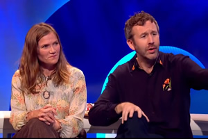 The Last Leg. Image shows from L to R: Jessica Hynes, Chris O'Dowd. Copyright: Open Mike Productions.