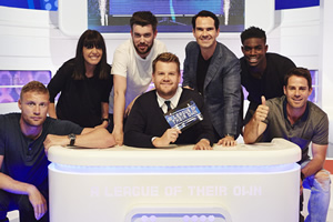 A League Of Their Own. Image shows from L to R: Andrew Flintoff MBE, Claudia Winkleman, Jack Whitehall, James Corden, Jimmy Carr, Micah Richards, Jamie Redknapp. Copyright: CPL Productions.