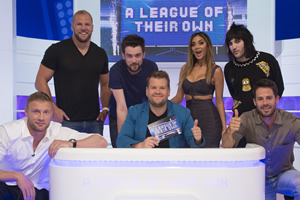 A League Of Their Own. Image shows from L to R: Andrew Flintoff MBE, James Haskell, Jack Whitehall, James Corden, Nicole Scherzinger, Noel Fielding, Jamie Redknapp. Copyright: CPL Productions.