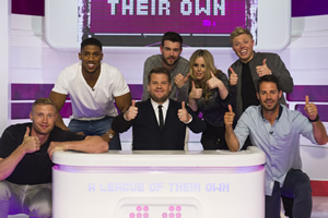 A League Of Their Own. Image shows from L to R: Andrew Flintoff MBE, Anthony Joshua MBE, Jack Whitehall, Roisin Conaty, Rob Beckett, Jamie Redknapp. Copyright: CPL Productions.