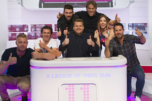 A League Of Their Own. Image shows from L to R: Andrew Flintoff MBE, Joey Barton, Jack Whitehall, James Corden, John Bishop, Katherine Ryan, Jamie Redknapp. Copyright: CPL Productions.