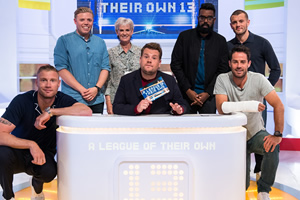 A League Of Their Own. Image shows from L to R: Andrew Flintoff, Rob Beckett, Judy Murray, James Corden, Romesh Ranganathan, Jamie Redknapp, Jack Wilshere. Copyright: CPL Productions.