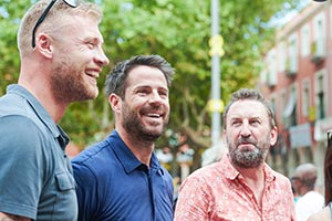 A League Of Their Own. Image shows from L to R: Andrew Flintoff, Jamie Redknapp, Lee Mack. Copyright: CPL Productions.