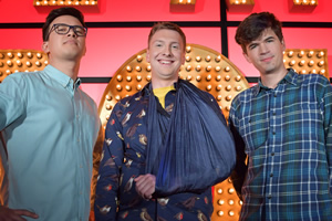 Live At The Apollo. Image shows from L to R: Phil Wang, Joe Lycett, Ivo Graham. Copyright: Open Mike Productions.