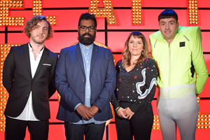 Live At The Apollo. Image shows from L to R: Seann Walsh, Romesh Ranganathan, Kerry Godliman, Spencer Jones. Copyright: Open Mike Productions.