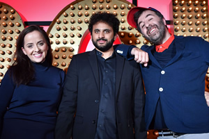Live At The Apollo. Image shows from L to R: Luisa Omielan, Nish Kumar, David O'Doherty. Copyright: Open Mike Productions.
