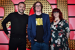 Live At The Apollo. Image shows from L to R: Geoff Norcott, Ed Byrne, Angela Barnes. Copyright: Open Mike Productions.