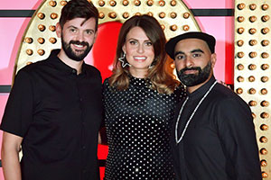 Live At The Apollo. Image shows from L to R: Fin Taylor, Ellie Taylor, Tez Ilyas. Copyright: Open Mike Productions.