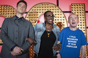 Live At The Apollo. Image shows from L to R: Ed Gamble, Gina Yashere, Lee Ridley. Copyright: Open Mike Productions.