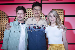 Live At The Apollo. Image shows from L to R: Brennan Reece, Phil Wang, Rachel Parris. Copyright: Open Mike Productions.