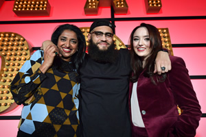 Live At The Apollo. Image shows from L to R: Sindhu Vee, Jamali Maddix, Fern Brady. Copyright: Open Mike Productions.