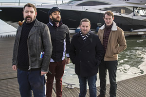 Loaded. Image shows from L to R: Watto (Nick Helm), Leon (Samuel Anderson), Josh (Jim Howick), Ewan (Jonny Sweet).