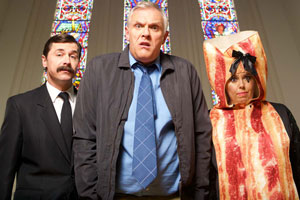 Man Down. Image shows from L to R: Brian (Mike Wozniak), Dan (Greg Davies), Jo (Roisin Conaty). Copyright: Avalon Television.