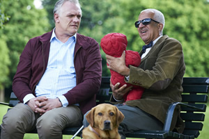 Man Down. Image shows from L to R: Dan (Greg Davies), Blind Jim (Derek Griffiths). Copyright: Avalon Television.