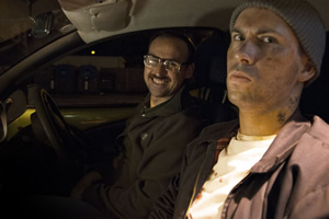 Max & Ivan: In Conversation. Image shows from L to R: Driver (Ivan Gonzalez), Hitchhiker (Max Olesker).