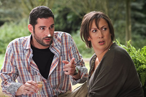 Miranda. Image shows from L to R: Gary (Tom Ellis), Miranda (Miranda Hart). Copyright: BBC.