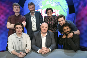 Mock The Week. Image shows from L to R: James Acaster, Rhys James, Hugh Dennis, Dara O Briain, Zoe Lyons, Ed Gamble, Nish Kumar. Copyright: Angst Productions.