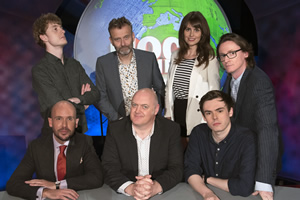 Mock The Week. Image shows from L to R: Tom Allen, James Acaster, Hugh Dennis, Dara O Briain, Ellie Taylor, Rhys James, Ed Byrne. Copyright: Angst Productions.