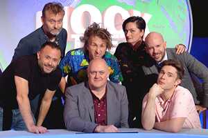 Mock The Week. Image shows from L to R: Hugh Dennis, Geoff Norcott, Milton Jones, Dara O Briain, Zoe Lyons, Tom Allen, Ed Gamble. Copyright: Angst Productions.
