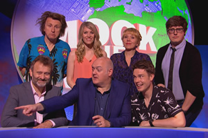 Mock The Week. Image shows from L to R: Hugh Dennis, Milton Jones, Rachel Parris, Dara O Briain, Kerry Godliman, Ed Gamble, Glenn Moore. Copyright: Angst Productions.
