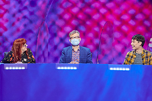Mock The Week. Image shows from L to R: Angela Barnes, Hugh Dennis, Nigel Ng. Copyright: Angst Productions.