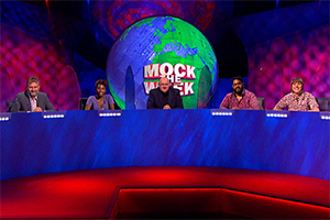 Mock The Week. Image shows from L to R: Hugh Dennis, Sophie Duker, Dara O Briain, Eshaan Akbar, Maisie Adam. Copyright: Angst Productions.