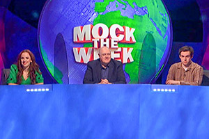 Mock The Week. Image shows from L to R: Catherine Bohart, Dara O Briain, Rhys James. Copyright: Angst Productions.