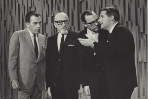 Ed Sullivan, his band leader, and Morecambe & Wise. Image shows from L to R: Eric Morecambe, Ernie Wise.