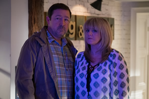 Mount Pleasant. Image shows from L to R: Dan Johnson (Daniel Ryan), Lisa Johnson (Sally Lindsay). Copyright: Tiger Aspect Productions.
