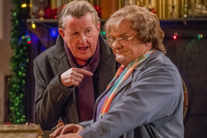 Mrs. Brown's Boys. Image shows from L to R: Clyde (Kevin Kennedy), Agnes Brown (Brendan O'Carroll).